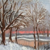 Winter Sunset (acrylic) © Ann Bishton 2016
