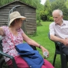 Margaret and Eric having a chin-wag over tea
