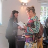 Kathy presenting Sheila with the Stoodley Cup for the most points in Show and the Brownie Cup for most classes entered