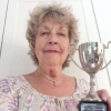 "Ann with the Polly Chiverton Cup for her Best Arrangement in Show - ""Autumn Leaves"""