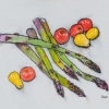 Asparagus & Tomatoes (ink & watercolour)) © Chris Davies 2015
