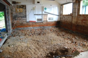 Digging out the stage and old kitchen