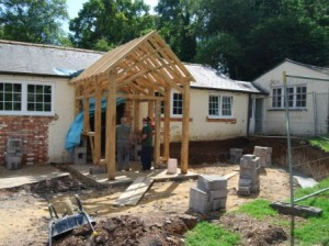 The new porch is put in place
