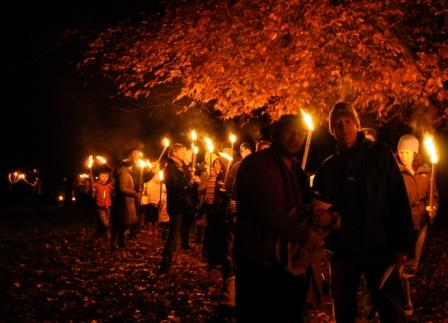 Torchlit procession from Village Green to Rec