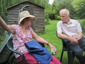 Margaret and Eric chewing the cud over a cuppa