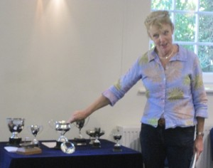 Sarah telling us all about the various cups and other awards