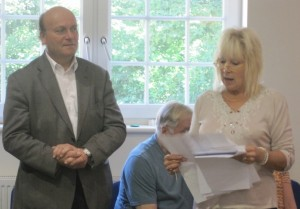 Helen reading out the results to Judge Ray Broughton