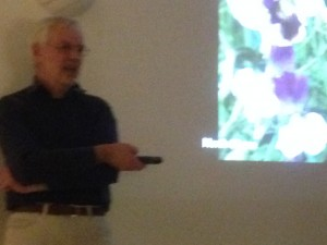 Roger Parsons giving his talk on sweet peas