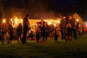Gathering to light the bonfire