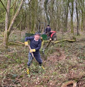 Clearing the new path in private woodland alongside Kings Hill and Medstead Road
