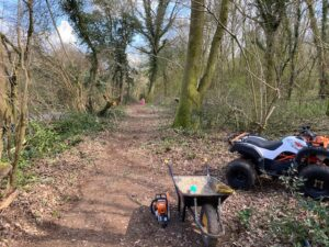 The new path in private woodland alongside Kings Hill and Medstead Road